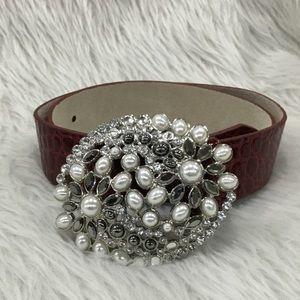 White House black market embellished jewel belt